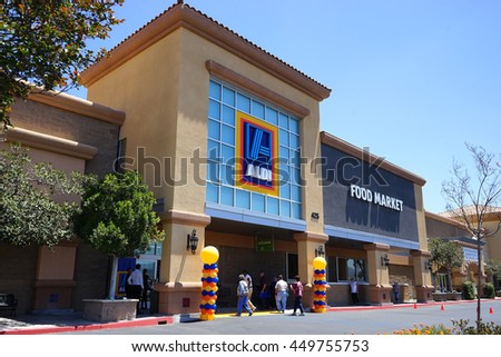 SIMI VALLEY - JUN 16: Aldi Store grand opening on June 16, 2016 in Simi Valley, California.  Aldi is a low price grocery outlet that is rapidly expanding in the USA. - stock photo