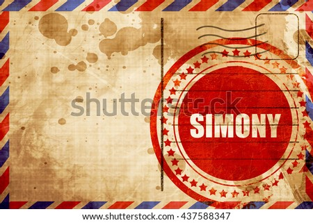 simony, red grunge stamp on an airmail background - stock photo