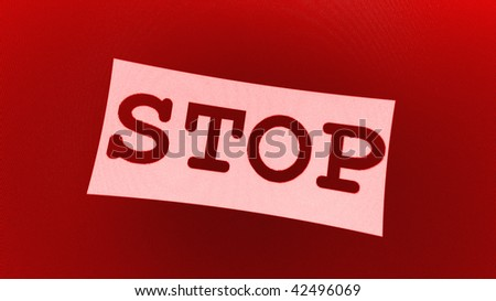 simple abstract red STOP symbol - stock photo