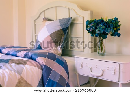 Simple and beautiful bedroom vintage style. - stock photo