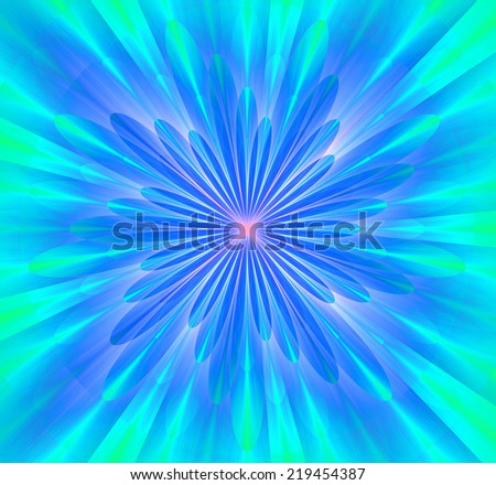 Simple and beautiful high resolution shining bright star/flower wallpaper in green, cyan, blue and pink colors and with a detailed decorative petals around it  - stock photo