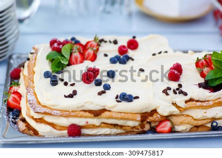 Simple and elegant wedding berry cake on outdoor summer reception. - stock photo