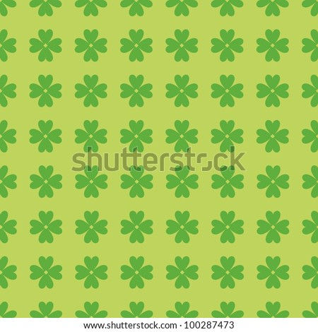Simple and seamless green pattern with clover leaves - stock photo