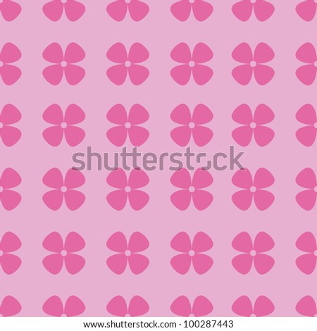 Simple and seamless pink pattern with flowers - stock photo