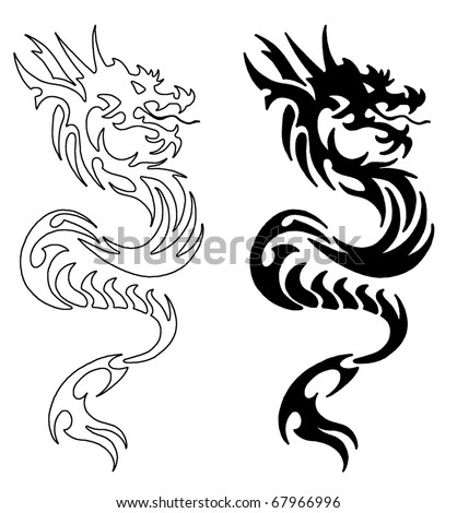 Simple Asian Dragon - stock photo