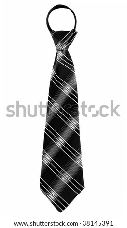 Simple black tie for child, isolated over white - stock photo