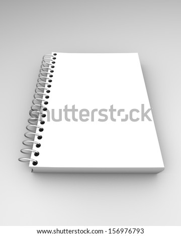 Simple blank notebook isolated with empty cover front view. - stock photo