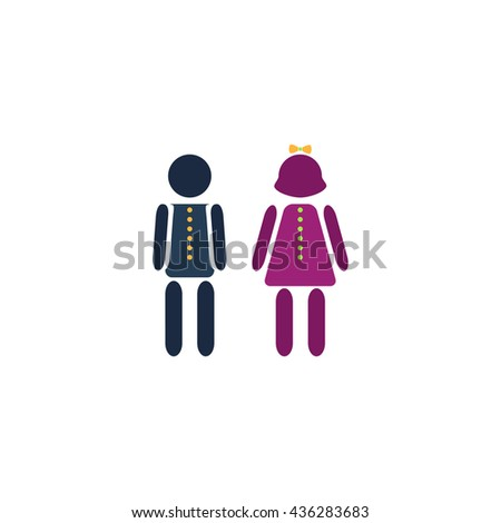 Simple Boy and Girl. Color simple flat icon on white background - stock photo