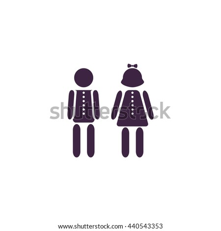 Simple Boy and Girl. Simple blue icon on white background - stock photo