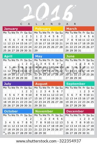 Simple Calendar Design for 2016 Year - stock photo