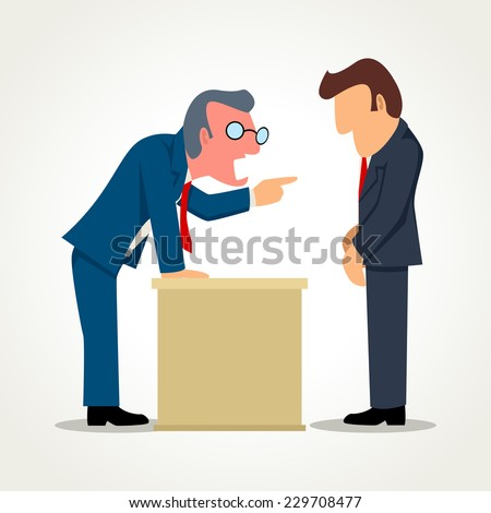 Simple cartoon of a boss angry with his subordinate - stock photo