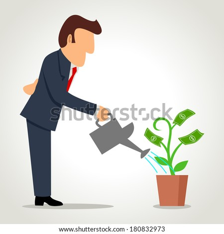 Simple cartoon of a businessman watering a money plant - stock photo