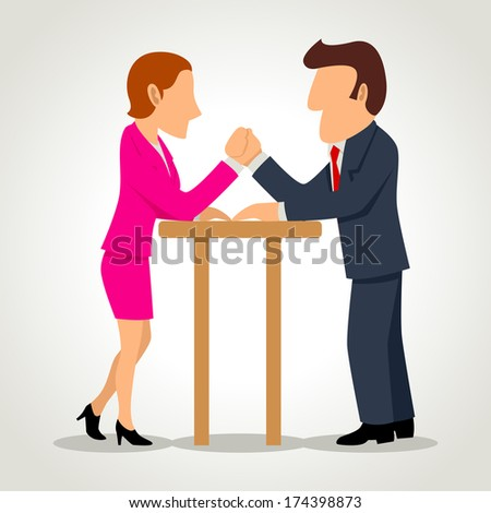 Simple cartoon of a businesswoman arm wrestling with a businessman - stock photo