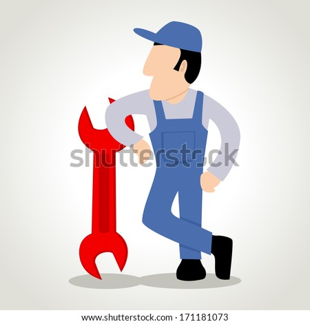 Simple cartoon of a man figure with a wrench - stock photo