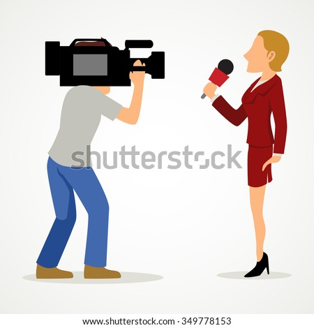 Simple cartoon of a reporter and a cameraman. Journalism, news, press theme, raster version - stock photo