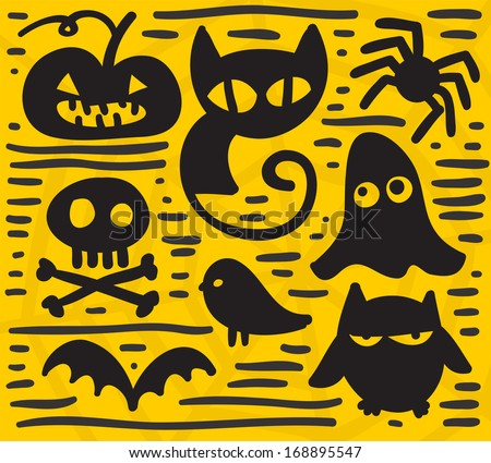 Simple cartoon silhouettes for your Halloween design. - stock photo