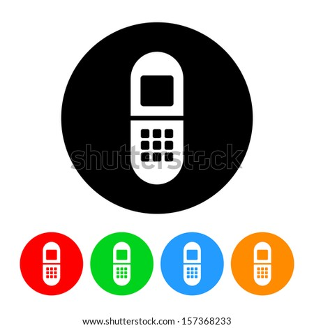 Simple Cell Phone Icon with Color Variations.  Raster version. - stock photo
