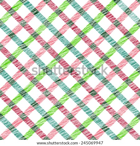 Simple checkered template. Plain tartan background for decoration or backdrop. Brush strokes. Pattern fills. Abstract backdrop. Endless texture. Fabric with scratch lines. - stock photo