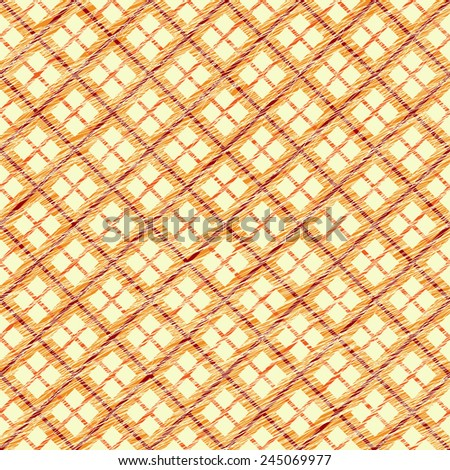 Simple checkered template. Plain tartan background for decoration or backdrop. Brush strokes. Pattern fills. Abstract backdrop. Endless illustration. Fabric with scratch lines. - stock photo