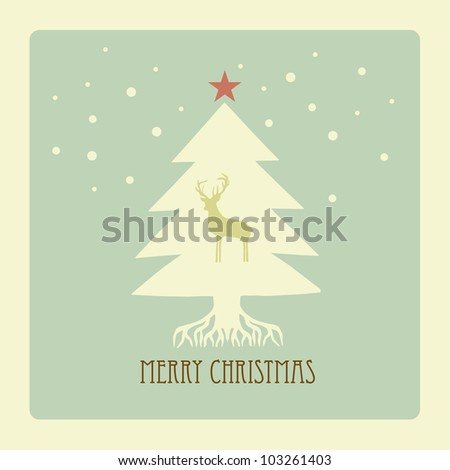 Simple christmas tree with deer - stock photo