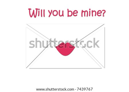 Simple clean abstract of envelope and pink lips. - stock photo