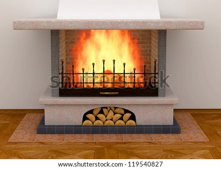 Simple clean brick fireplace with a single fire log burning out to give heat - stock photo