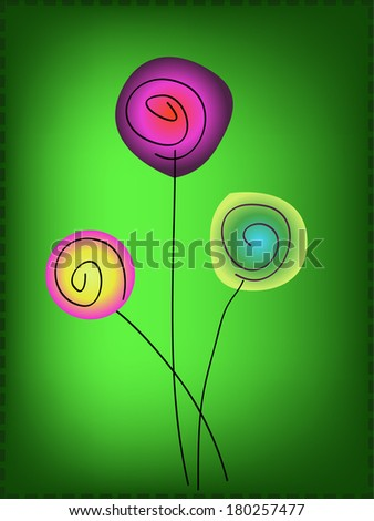 simple colorful flowers on green background - stock photo