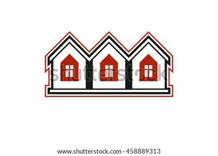 Simple cottages illustration, country houses, for use in graphic design. Real estate concept, region or district theme. Building company abstract corporate image. - stock photo