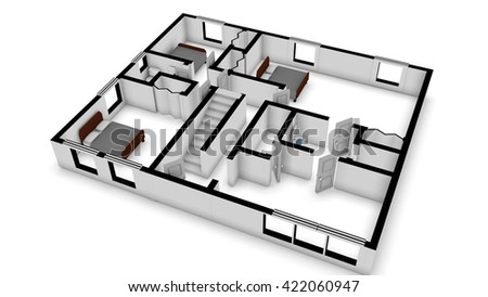 simple 3d layout of a house, 3d illustration - stock photo