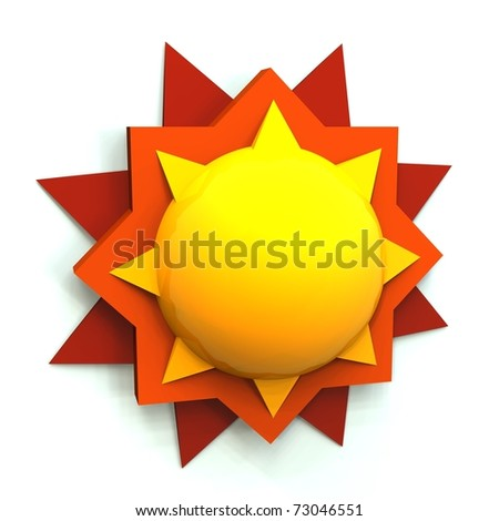 Simple 3D render sun on white background - stock photo