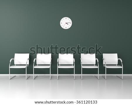 Simple dark waiting room - stock photo