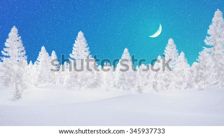 Simple decorative winter landscape with snowy fir trees against light blue night sky with a half moon. 3D illustration was done from my own 3D rendering file. - stock photo