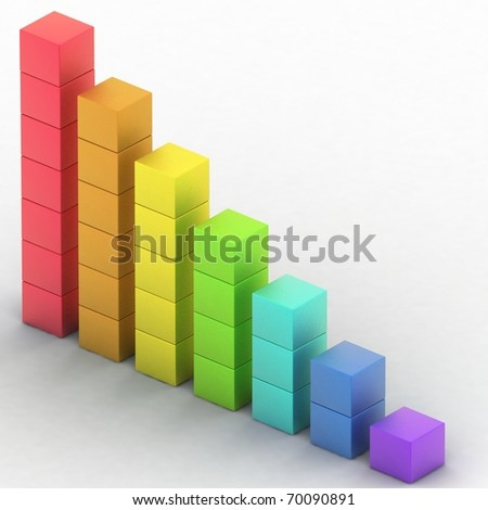 simple diagram of simple diagram of even decline - stock photo