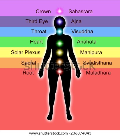 Simple diagram showing position of human chakras and their accepted names and colors                          - stock photo