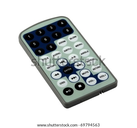 Simple DVD remote control isolated on pure white - stock photo