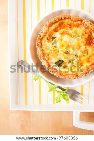 Simple Eggs, Onions, and Cheese Mini Quiches - stock photo