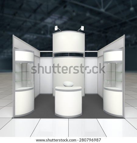 simple exhibition stand with blank radial display reception counter and showcases - stock photo