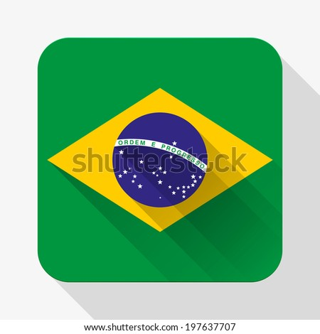Simple flat icon Brazil flag. Premium basic design with long shadow effect of web design objects.  - stock photo