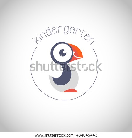 Simple flat kid logo. Baby, child company goods, toys shop, store. Bird icon. Cute animal character. Bird smiling icon. Kindergarten simple logo isolated on white background. - stock photo
