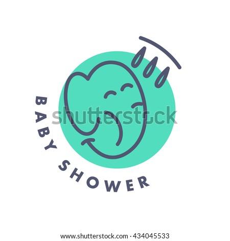 Simple flat kid logo. Baby, child company goods, toys shop, store. Smiling elephant icon. Shower icon isolated on white background. Animal portrait, elephant head. Water drops. - stock photo