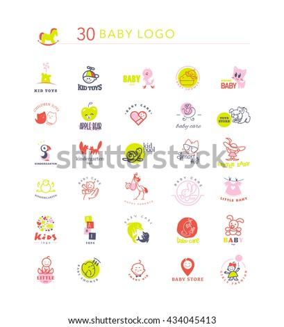Simple flat kid logo set. Baby, child goods, toys store, candy bar, sweet shop logo isolated on white backdrop. Elephant, dolphin, cat, bird, dog, stork, chicken, bunny, castle, boy, girl icon. - stock photo