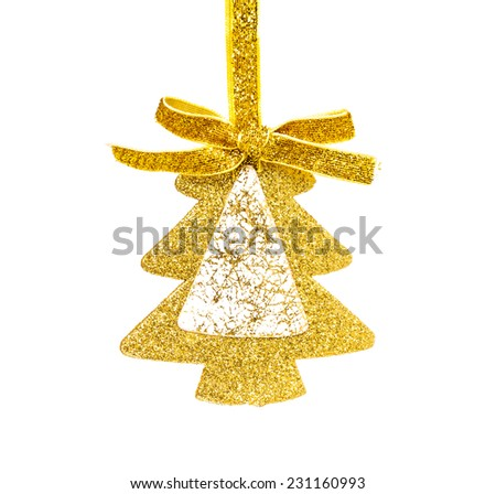 Simple golden Christmas tree isolated on background  - stock photo