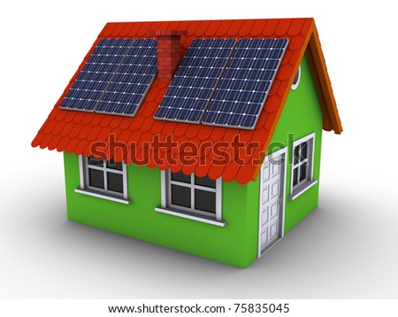Simple green house with solar panels on the roof. 3d rendered bitmap - stock photo