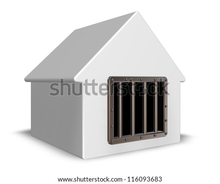 simple house with prison window - 3d illustration - stock photo
