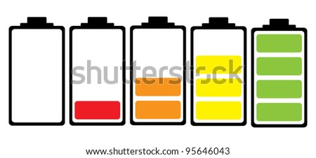 Simple illustrated battery icon with colourful charge level - stock photo
