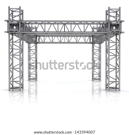 simple iron new building construction frame illustration - stock photo