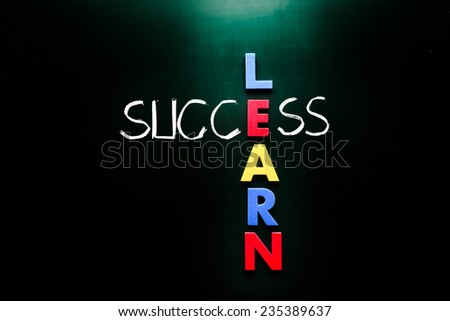 Simple Learn and Success Concept Formed in Cross with Dark Chalkboard Background. - stock photo
