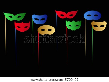Simple Masks and Dowels - stock photo