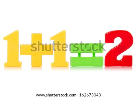 Simple math equation, from a child's toy number set. Isolated on white background. - stock photo