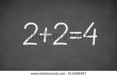 simple mathematical equation. two plus two equals four. closeup - stock photo